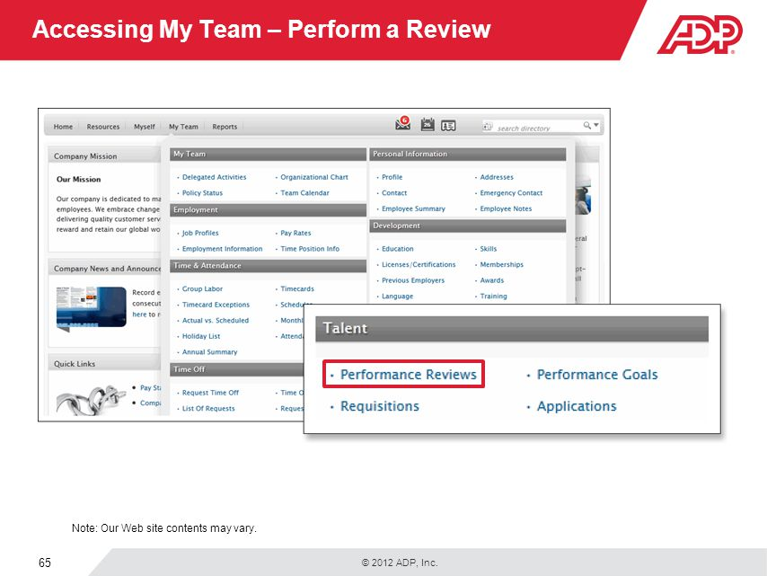 © 2012 ADP, Inc. 65 Accessing My Team – Perform a Review Note: Our Web site contents may vary.