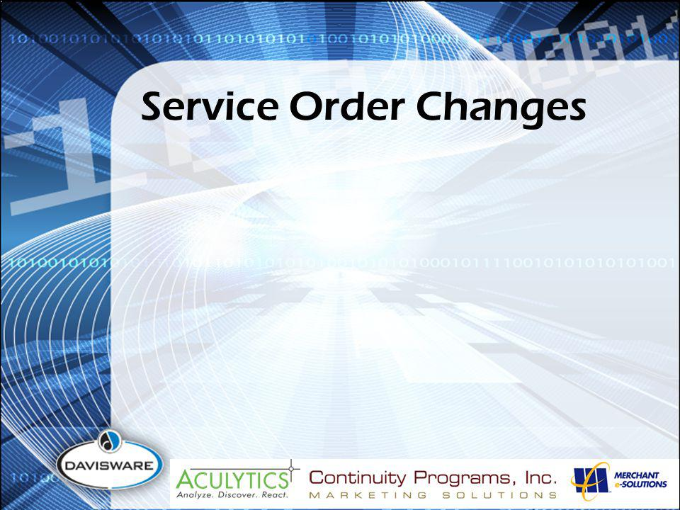 Service Order Changes