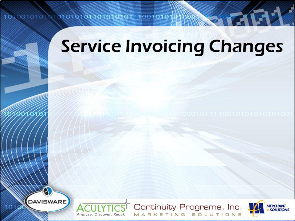 Service Invoicing Changes