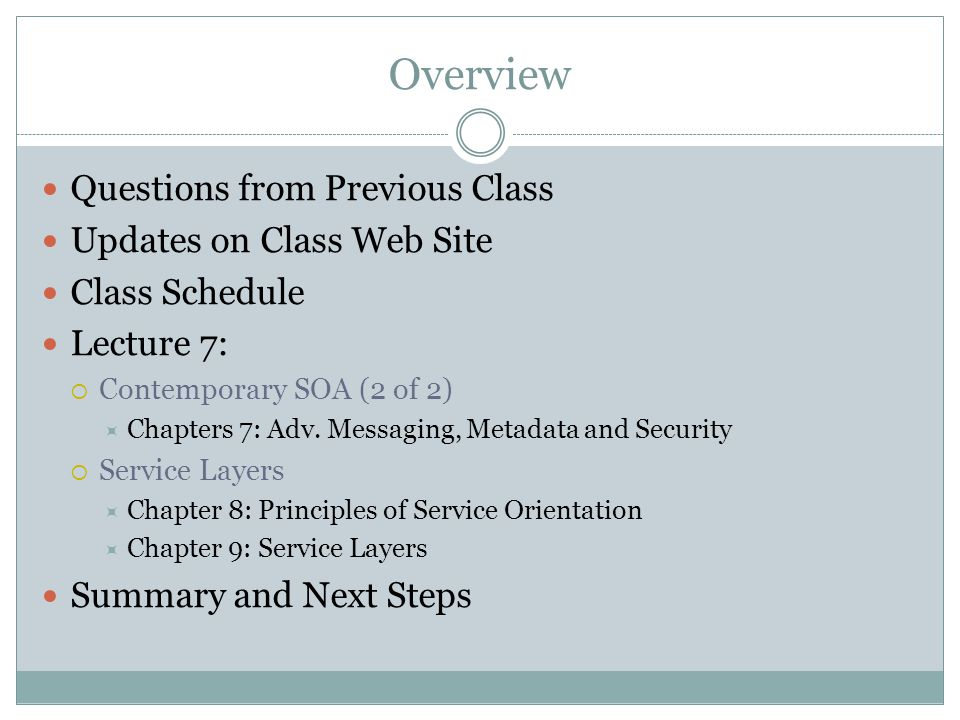 Overview Questions from Previous Class Updates on Class Web Site Class Schedule Lecture 7: Contemporary SOA (2 of 2) Chapters 7: Adv.