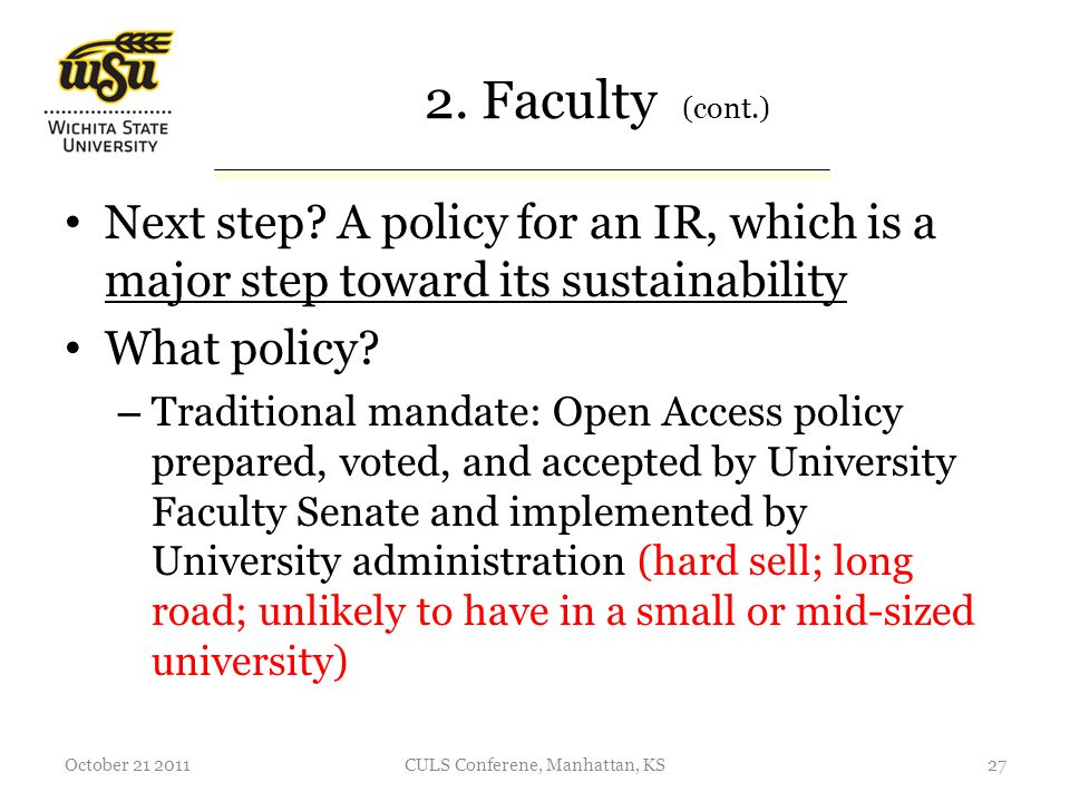 2. Faculty (cont.) Next step.