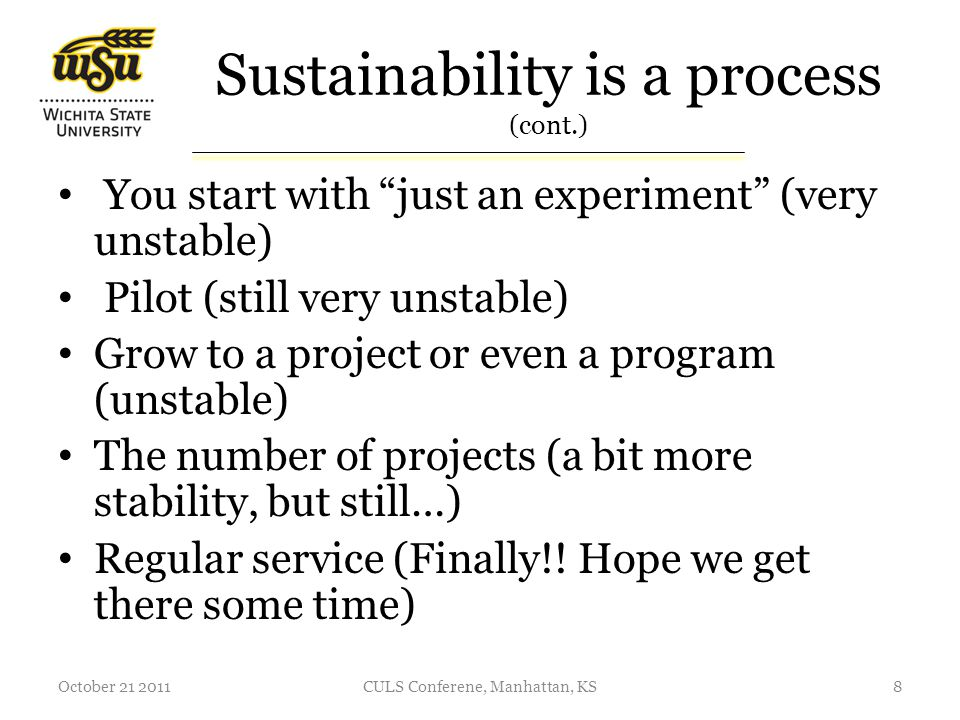 Steps toward an IR sustainability The IR is a locally developed database serving your organization needs The needs of your organization for an IR are not defined This is YOUR responsibility as an IR service developer to learn what role(s) an IR can play in your organization October 21 20119CULS Conferene, Manhattan, KS