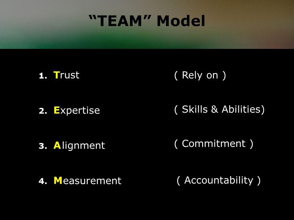1. T 2. E 3. A 4. M ( Rely on ) ( Skills & Abilities) ( Commitment ) ( Accountability ) easurement rust xpertise lignment TEAM Model