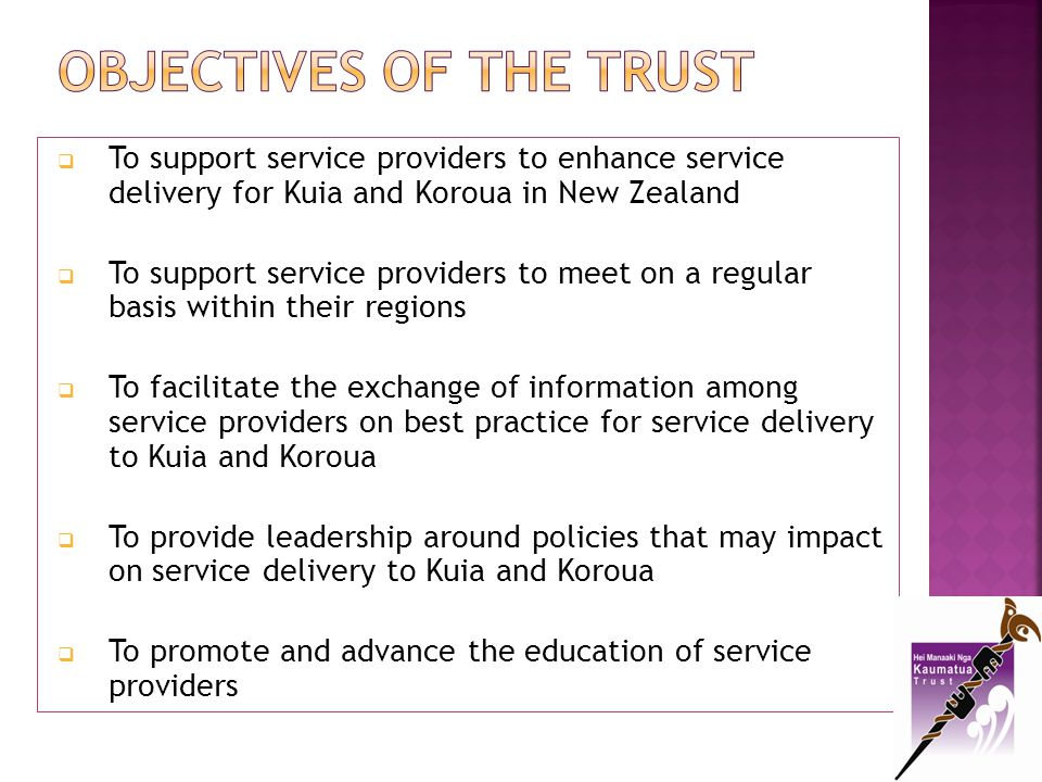 To promote and advance programmes and services that aim to relieve poverty To support tikanga Māori in the delivery of services To tautoko Kuia and Koroua in their improvement of health, wellbeing and wairuatanga To advocate for equitable health and social services funding To perform any other charitable purposes within New Zealand.