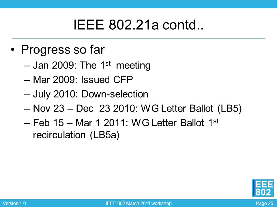 Page 25Version 1.0 IEEE 802 March 2011 workshop EEE 802 IEEE 802.21a contd.. Progress so far –Jan 2009: The 1 st meeting –Mar 2009: Issued CFP –July 2