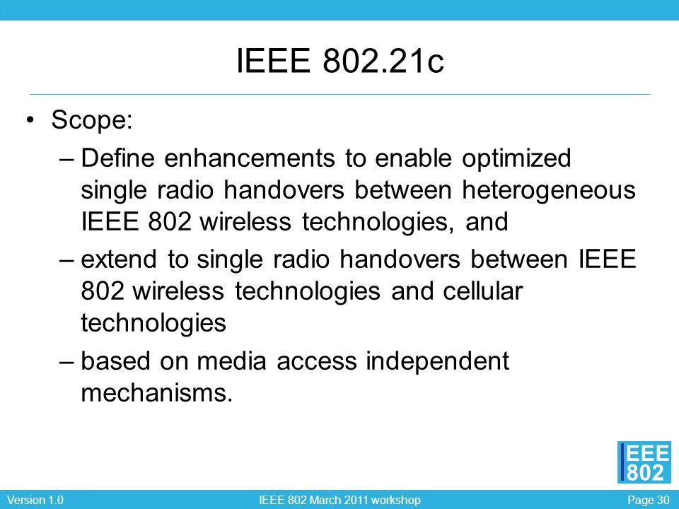 Page 30Version 1.0 IEEE 802 March 2011 workshop EEE 802 IEEE 802.21c Scope: –Define enhancements to enable optimized single radio handovers between he