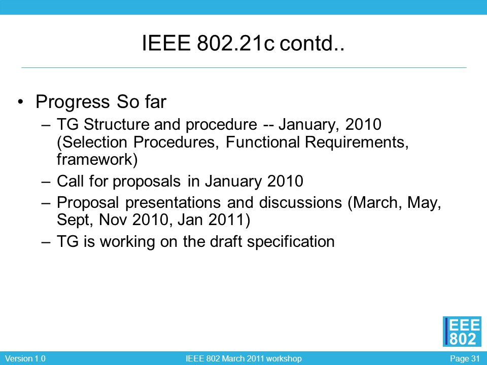 Page 31Version 1.0 IEEE 802 March 2011 workshop EEE 802 IEEE 802.21c contd.. Progress So far –TG Structure and procedure -- January, 2010 (Selection P