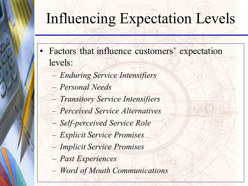 Influencing Expectation Levels Factors that influence customers expectation levels: –Enduring Service Intensifiers –Personal Needs –Transitory Service Intensifiers –Perceived Service Alternatives –Self-perceived Service Role –Explicit Service Promises –Implicit Service Promises –Past Experiences –Word of Mouth Communications