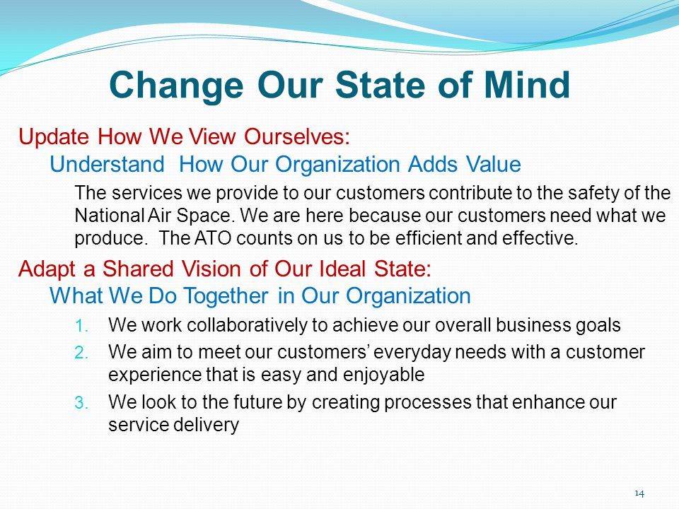 Change Our State of Mind Update How We View Ourselves: Understand How Our Organization Adds Value The services we provide to our customers contribute