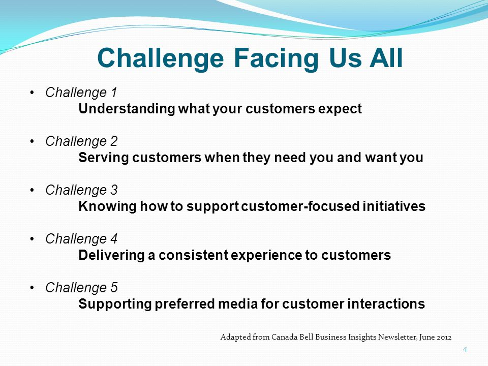 Challenge 1 Understanding what your customers expect Challenge 2 Serving customers when they need you and want you Challenge 3 Knowing how to support