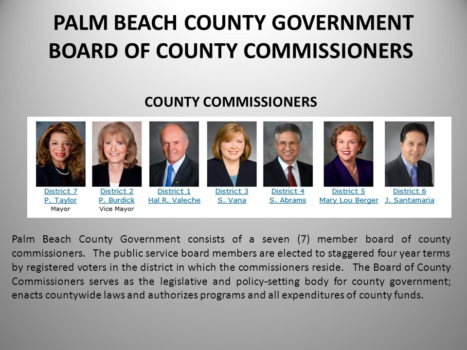 MISSION STATEMENT As a public service employee of Palm Beach County, it is our mission to continually improve, in the most cost effective manner, the