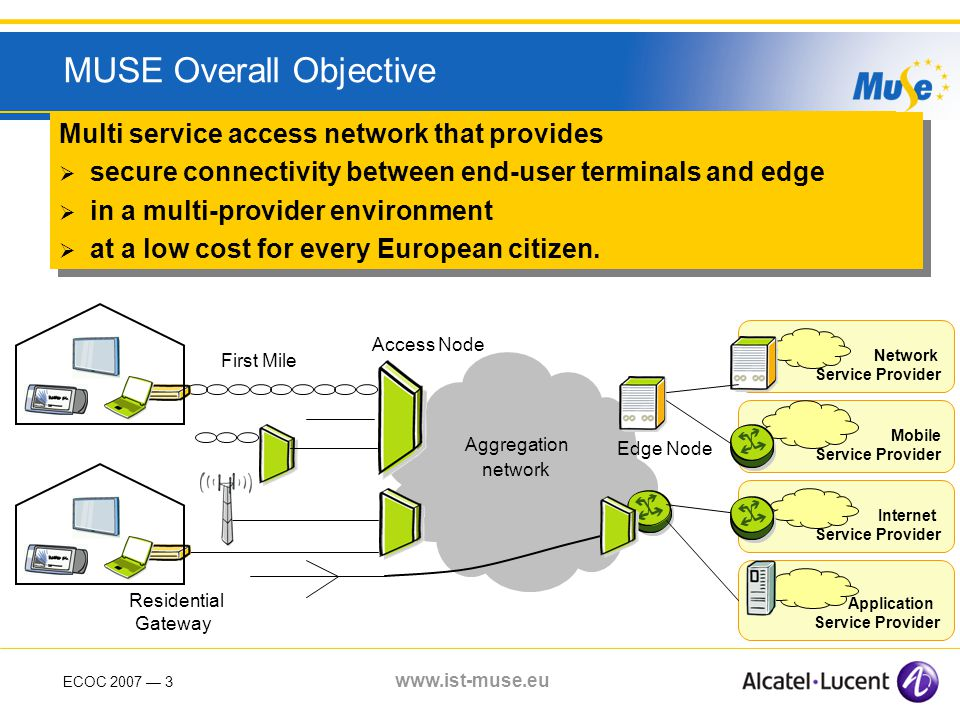 ECOC 2007 3 www.ist-muse.eu MUSE Overall Objective Multi service access network that provides secure connectivity between end-user terminals and edge in a multi-provider environment at a low cost for every European citizen.