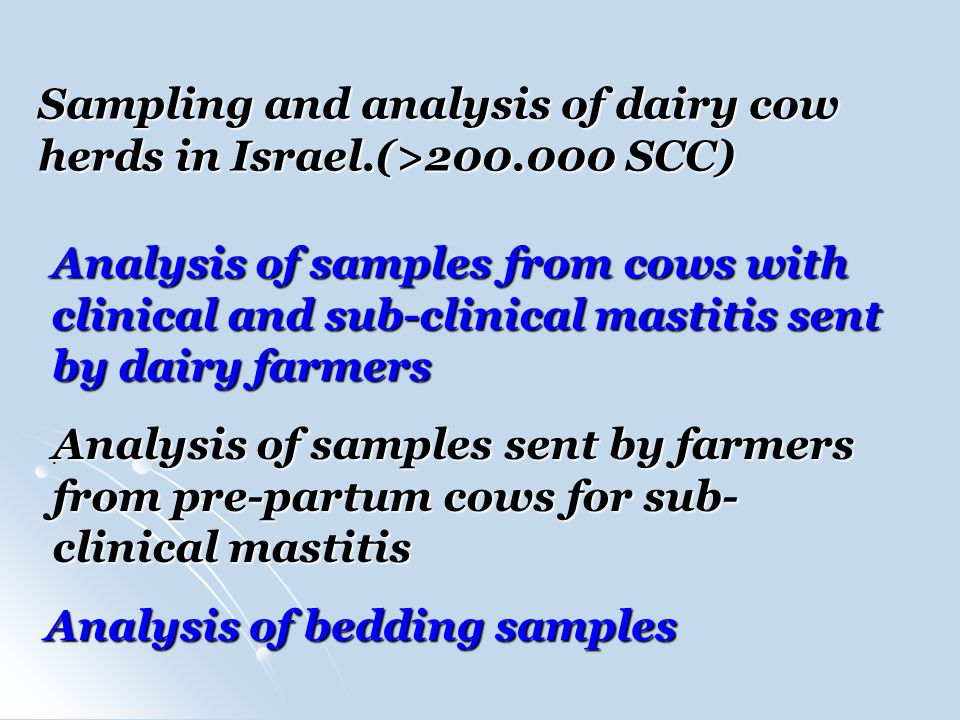 Sampling and analysis of dairy cow herds in Israel.(>200.000 SCC) Analysis of samples from cows with clinical and sub-clinical mastitis sent by dairy