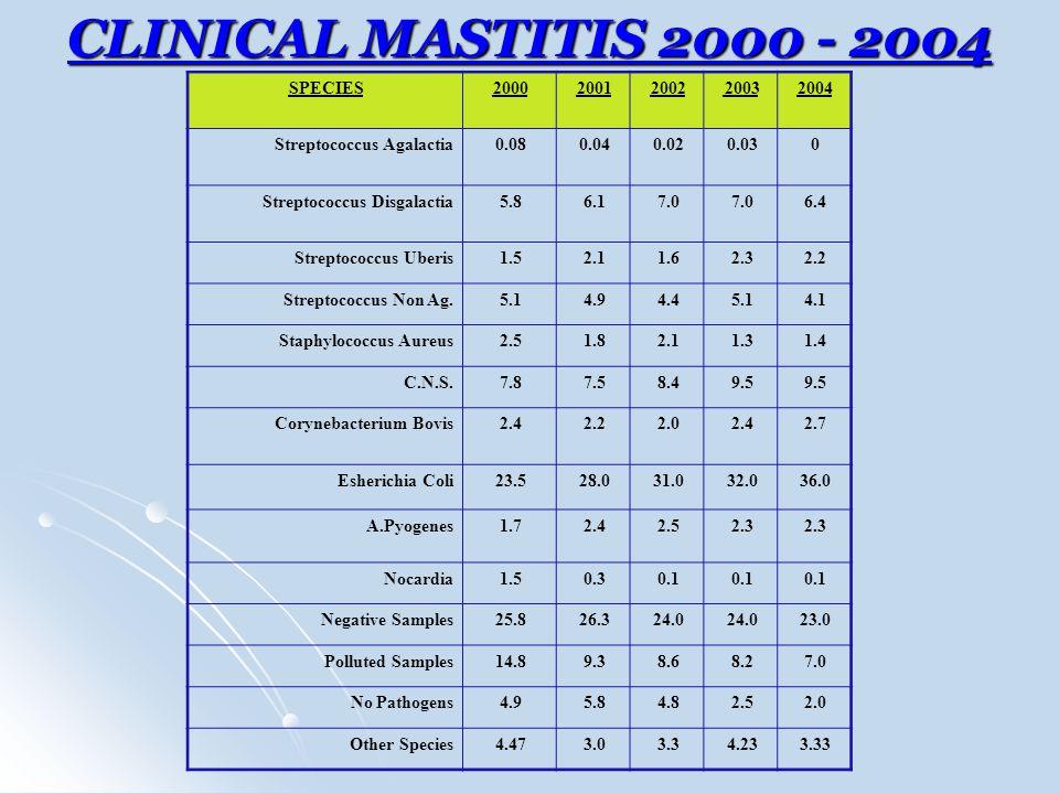 CLINICAL MASTITIS 2000 - 2004 SPECIES20002001200220032004 Streptococcus Agalactia0.080.040.020.030 Streptococcus Disgalactia5.86.17.0 6.4 Streptococcu