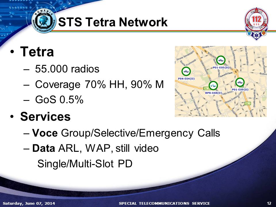 Saturday, June 07, 2014 12 SPECIAL TELECOMMUNICATIONS SERVICE STS Tetra Network Tetra – 55.000 radios – Coverage 70% HH, 90% M – GoS 0.5% Services –Voce Group/Selective/Emergency Calls –Data ARL, WAP, still video Single/Multi-Slot PD