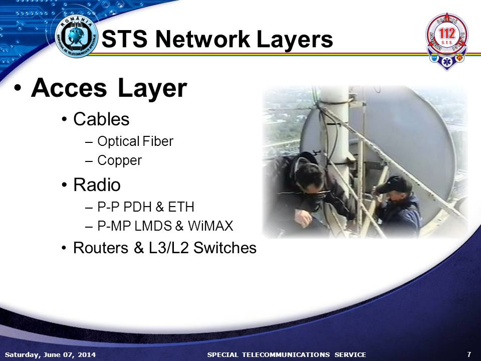 Saturday, June 07, 2014 7 SPECIAL TELECOMMUNICATIONS SERVICE STS Network Layers Acces Layer Cables –Optical Fiber –Copper Radio –P-P PDH & ETH –P-MP LMDS & WiMAX Routers & L3/L2 Switches
