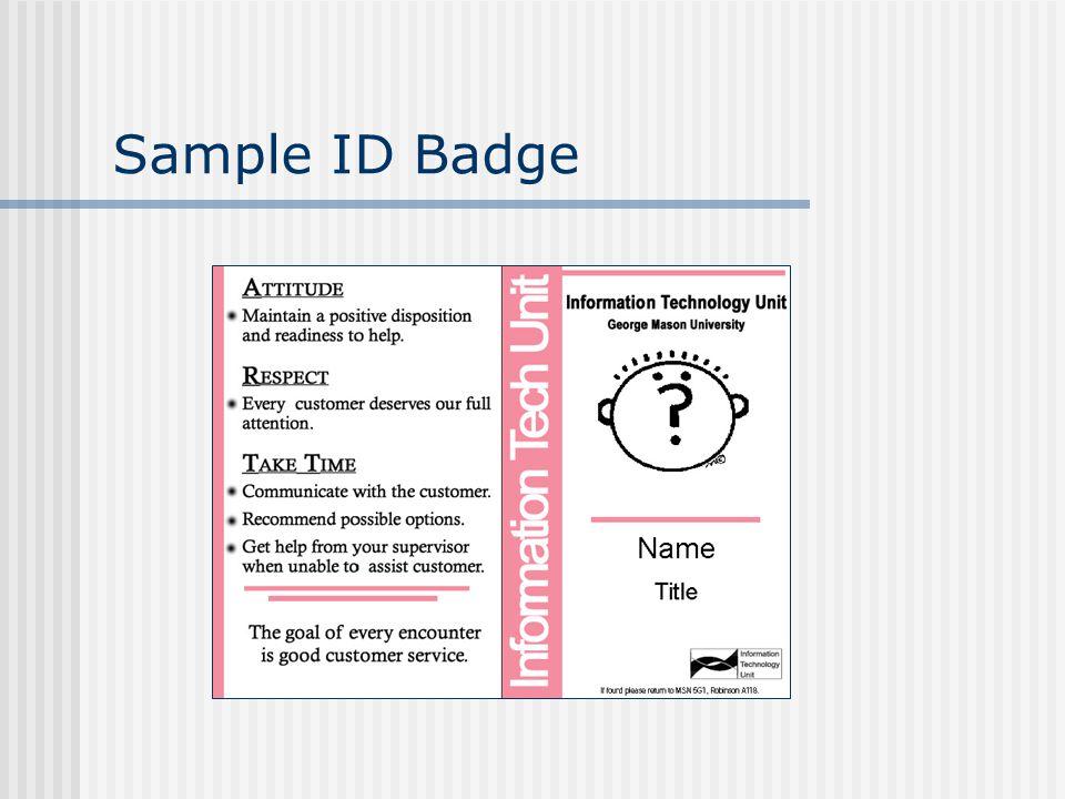 Sample ID Badge