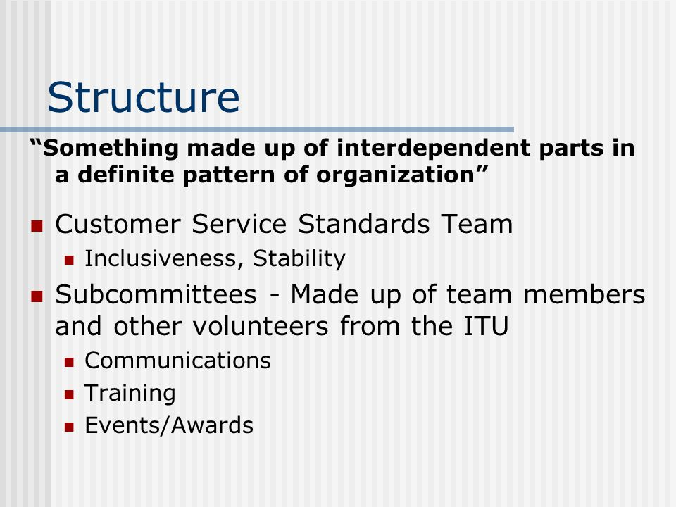 Structure - Example ASK ME Program (Abilities, Skills and Knowledge for Mason Education) Develop customer service, critical thinking, technical knowledge, problem solving and communications skills The four 3s: 3 participants, 3 hours of training, 3 hours/wk, 3 months commitment Volunteers from all areas of the ITU ASK ME Web site: http://www.doit.gmu.edu/staff/index.asp?pID=p rofdev&sID=askme