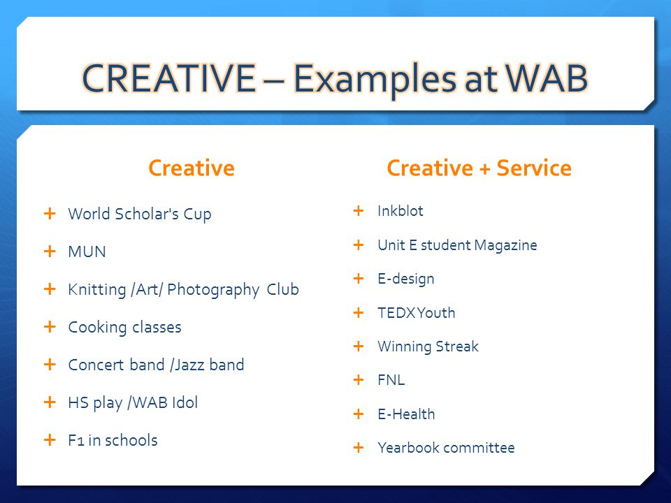 Creative World Scholar's Cup MUN Knitting /Art/ Photography Club Cooking classes Concert band /Jazz band HS play /WAB Idol F1 in schools Creative + Se