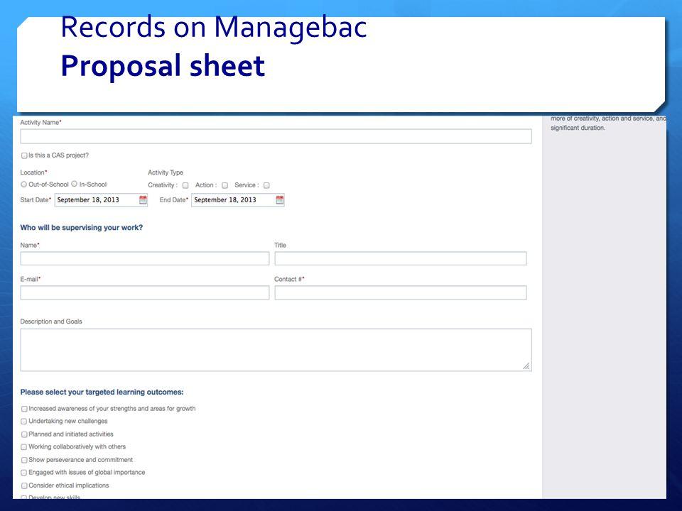 Records on Managebac Proposal sheet