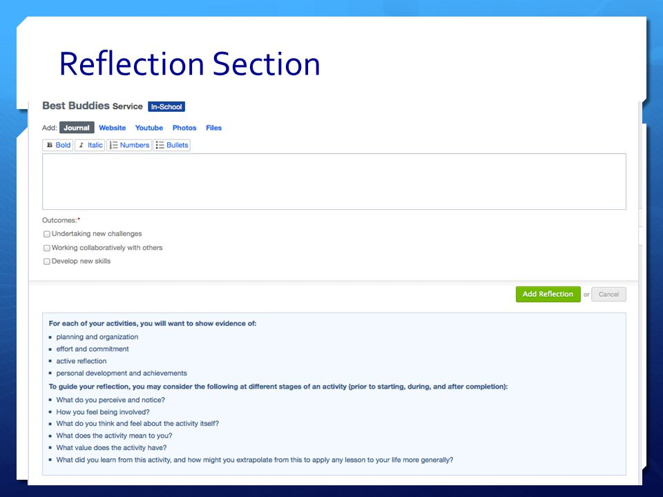 Reflection Section