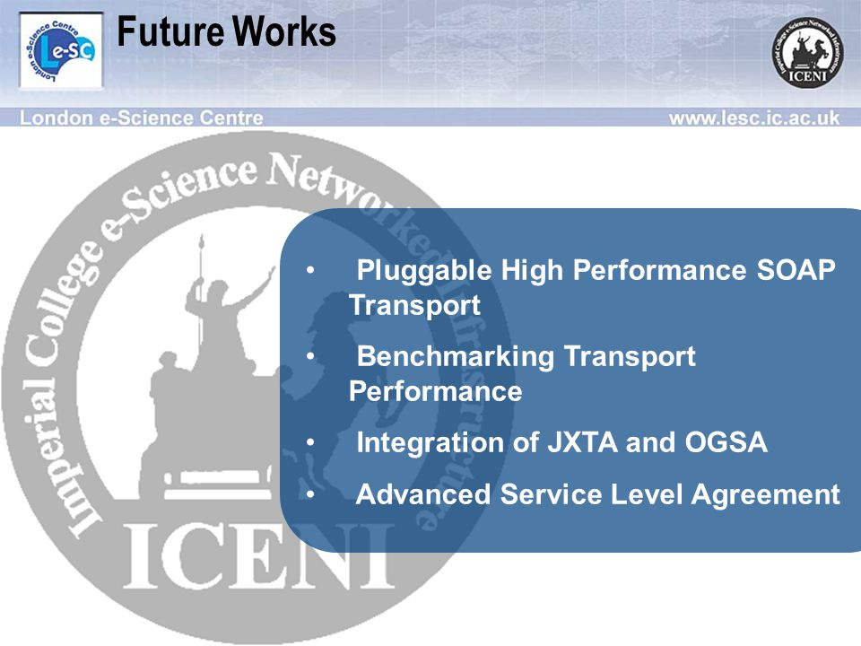 Future Works Pluggable High Performance SOAP Transport Benchmarking Transport Performance Integration of JXTA and OGSA Advanced Service Level Agreement