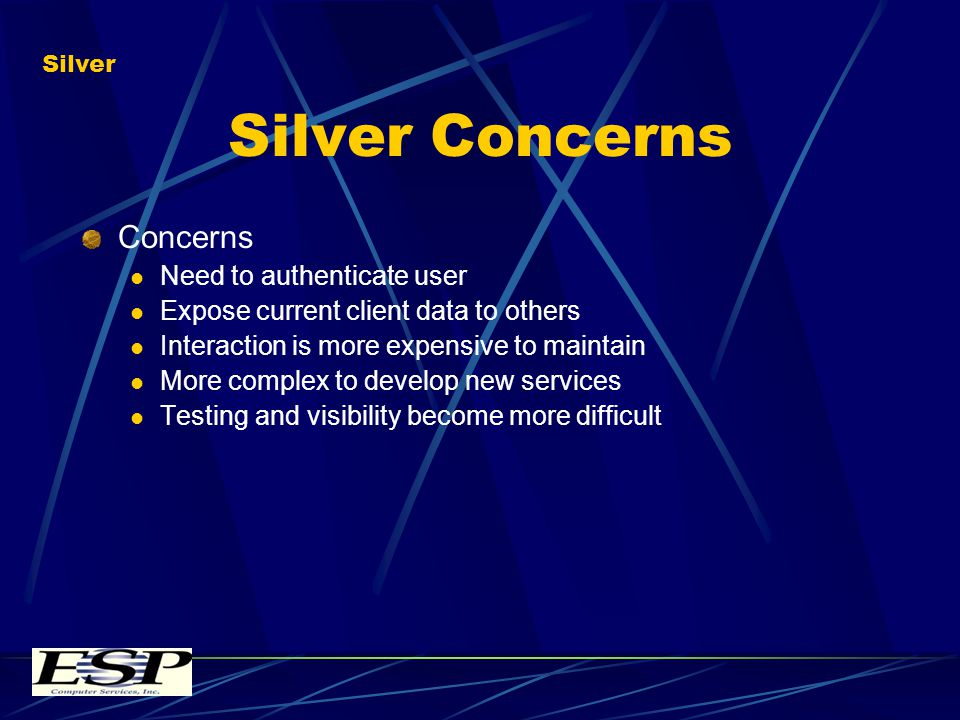 Silver Concerns Concerns Need to authenticate user Expose current client data to others Interaction is more expensive to maintain More complex to develop new services Testing and visibility become more difficult Silver