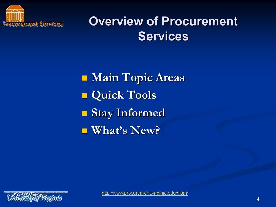 5 Procurement Structure at UVA Decentralized Purchasing Decentralized Purchasing Purchasing Unit Codes (PUC) Purchasing Unit Codes (PUC) Delivery Location Codes (DLC) Delivery Location Codes (DLC) Source of Funds Local Funds Local Funds State Funds State Funds Grant Funds Grant Funds Expenditure Types PUC & DLC Search