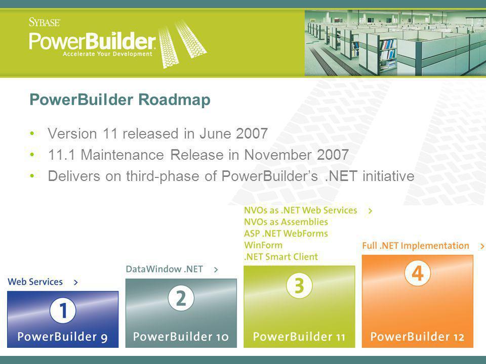 PowerBuilder Roadmap Version 11 released in June 2007 11.1 Maintenance Release in November 2007 Delivers on third-phase of PowerBuilders.NET initiative