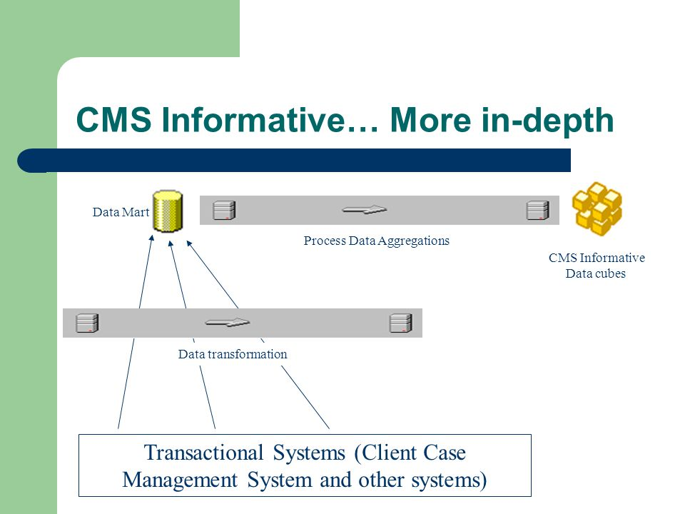 CMS Informative… More in-depth Transactional Systems (Client Case Management System and other systems) Data Mart Data transformation CMS Informative Data cubes Process Data Aggregations
