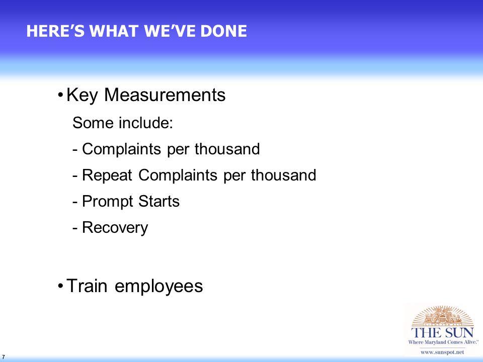 18 LEGENDARY SERVICE RESULTS SO FAR... Repeat Complaints 28% improvement (15,000)