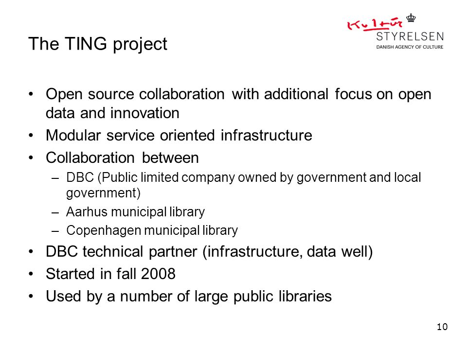 The TING project Open source collaboration with additional focus on open data and innovation Modular service oriented infrastructure Collaboration bet