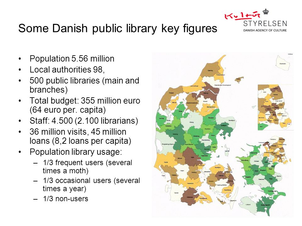 Some Danish public library key figures Population 5.56 million Local authorities 98, 500 public libraries (main and branches) Total budget: 355 million euro (64 euro per.