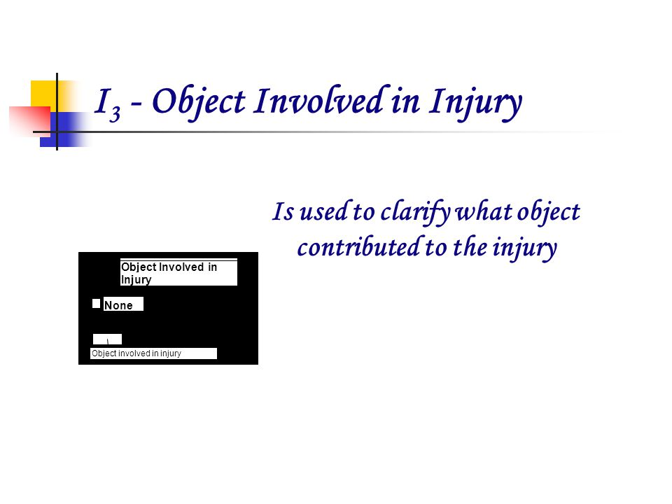 I 3 - Object Involved in Injury Is used to clarify what object contributed to the injury 632Hot Plate XRS 130 34-2345 1985 Object involved in injury O