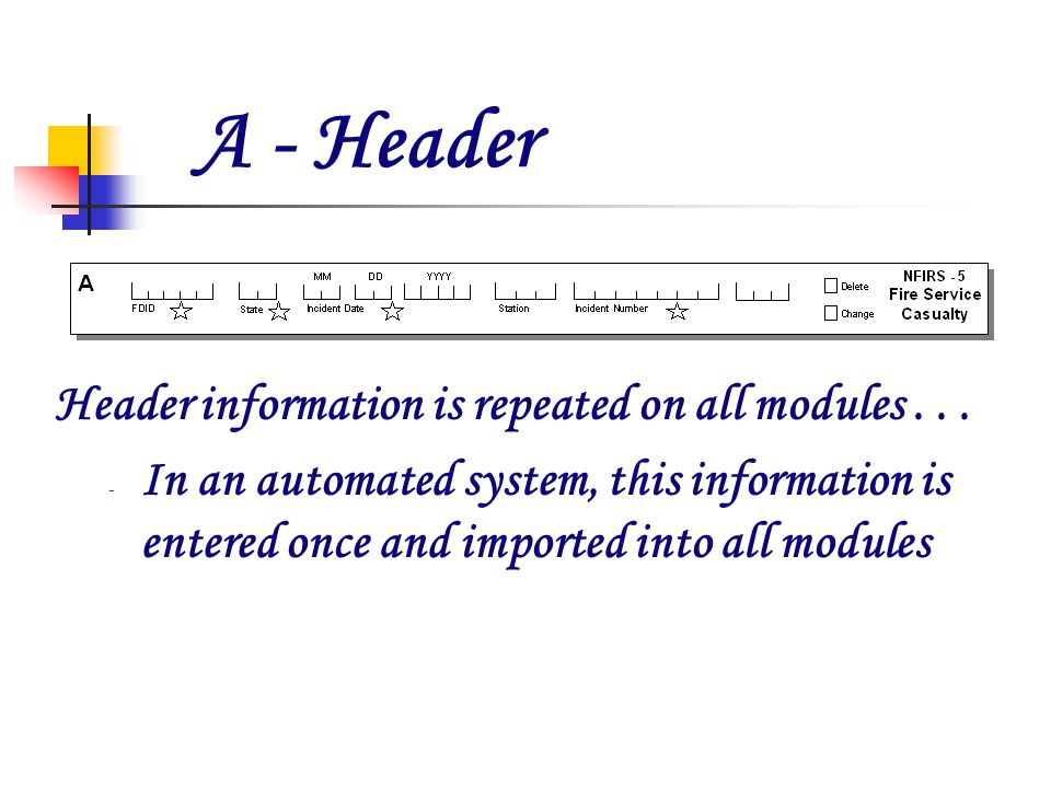 A - Header Header information is repeated on all modules...