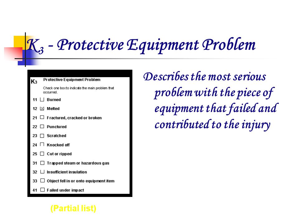 K 3 - Protective Equipment Problem 632Hot Plate XRS 130 34-2345 1985 Describes the most serious problem with the piece of equipment that failed and contributed to the injury (Partial list)