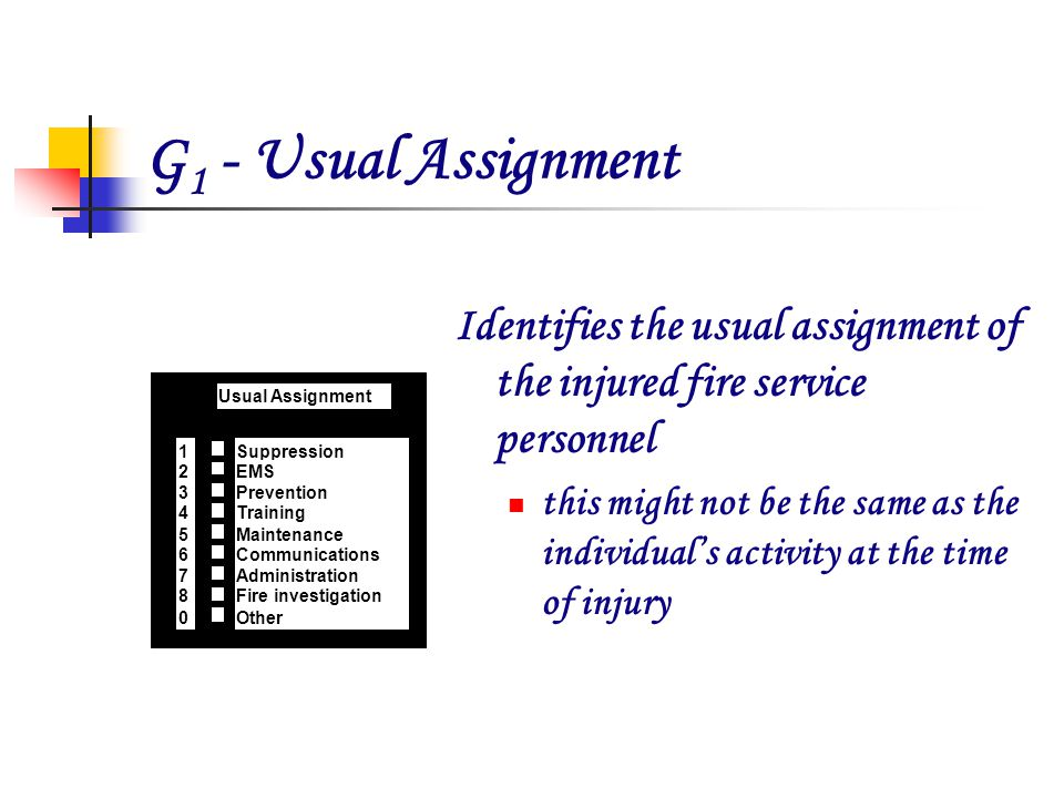 G 1 - Usual Assignment Identifies the usual assignment of the injured fire service personnel this might not be the same as the individuals activity at