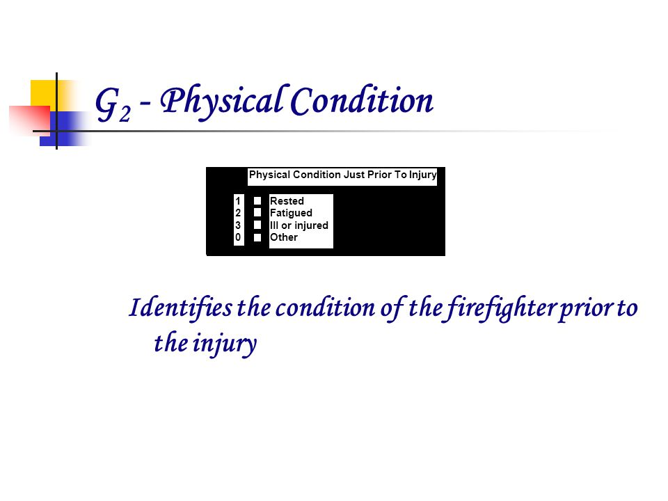 G 2 - Physical Condition Identifies the condition of the firefighter prior to the injury 21 Bedroom G 2 Physical Condition Just Prior To Injury Rested