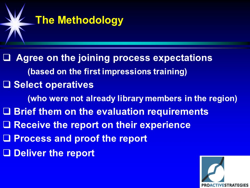 The Methodology Agree on the joining process expectations (based on the first impressions training) Select operatives (who were not already library me