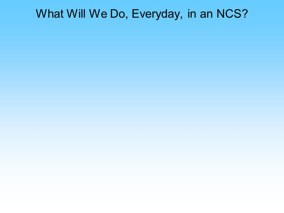 What Will We Do, Everyday, in an NCS