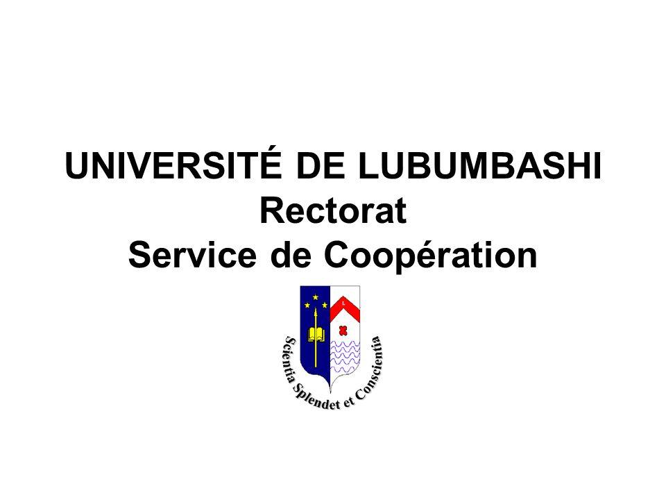 UNIVERSITÉ DE LUBUMBASHI Rectorat Service de Coopération