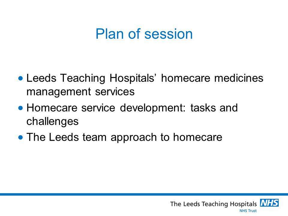 Plan of session Leeds Teaching Hospitals homecare medicines management services Homecare service development: tasks and challenges The Leeds team appr