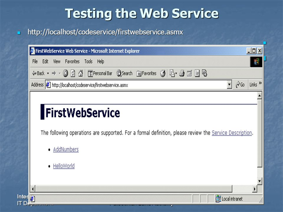 Intesar G Ali IT DepartmentPalestinian Land Authority Testing the Web Service http://localhost/codeservice/firstwebservice.asmx http://localhost/codes
