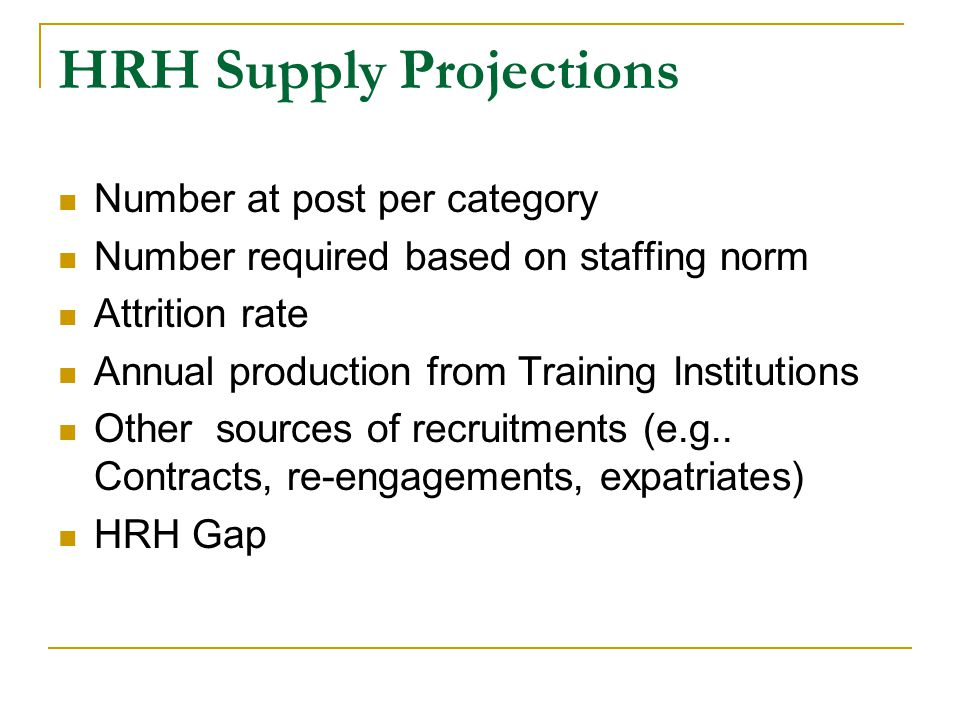 HRH Supply Projections Number at post per category Number required based on staffing norm Attrition rate Annual production from Training Institutions