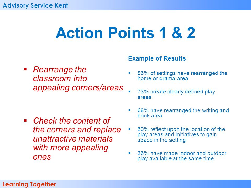 Advisory Service Kent Learning Together Action Points 1 & 2 Rearrange the classroom into appealing corners/areas Check the content of the corners and replace unattractive materials with more appealing ones Example of Results 86% of settings have rearranged the home or drama area 73% create clearly defined play areas 68% have rearranged the writing and book area 50% reflect upon the location of the play areas and initiatives to gain space in the setting 36% have made indoor and outdoor play available at the same time