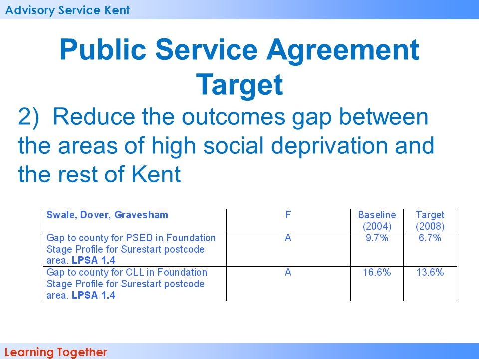 Advisory Service Kent Learning Together Public Service Agreement Target 2) Reduce the outcomes gap between the areas of high social deprivation and the rest of Kent