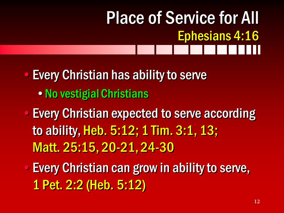 12 Place of Service for All Ephesians 4:16 Every Christian has ability to serve No vestigial Christians Every Christian expected to serve according to ability, Heb.