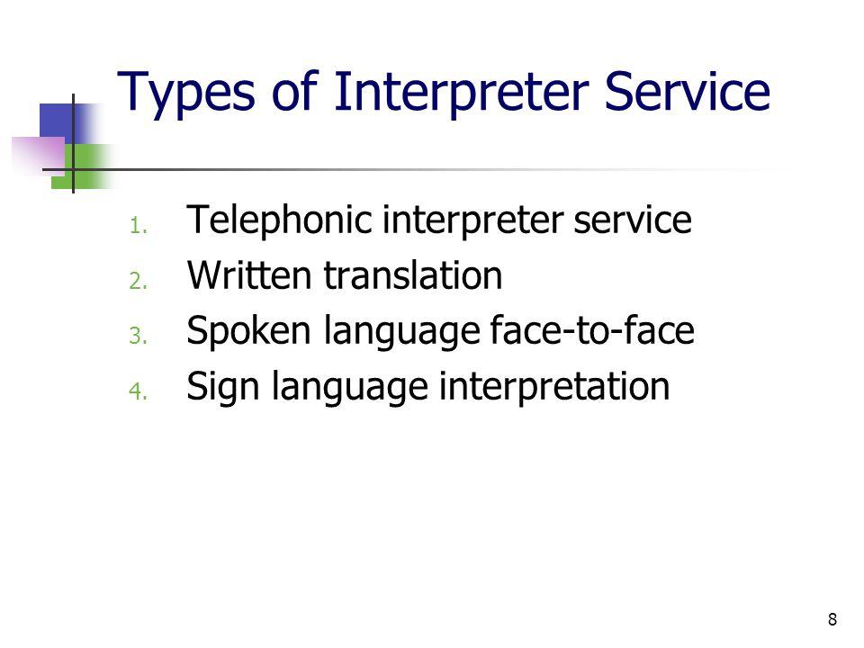 8 Types of Interpreter Service 1.Telephonic interpreter service 2.