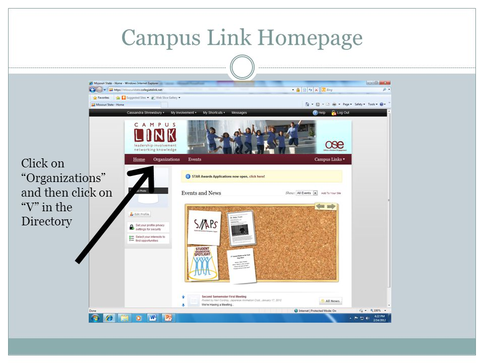 Campus Link Homepage Click on Organizations and then click on V in the Directory