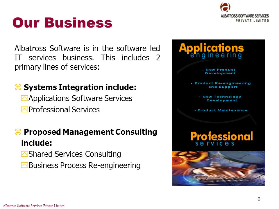 Albatross Software Services Private Limited 6 Our Business Albatross Software is in the software led IT services business.
